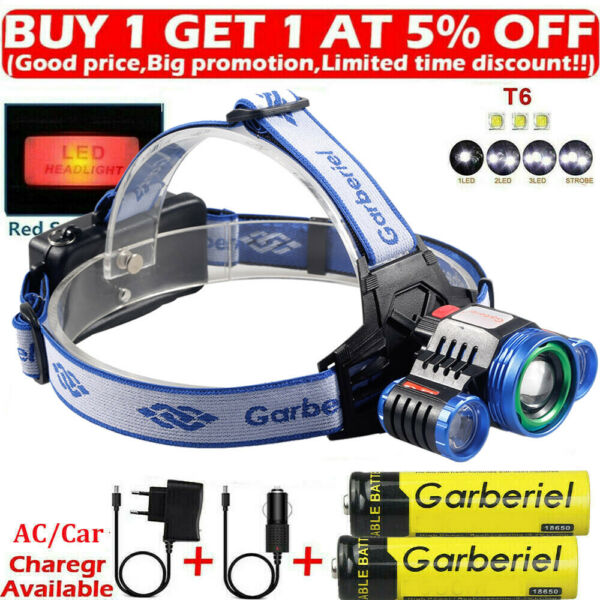 900000LM 3X XML T6 Rechargeable 18650 Headlamp Headlight Flashlight Head Torch