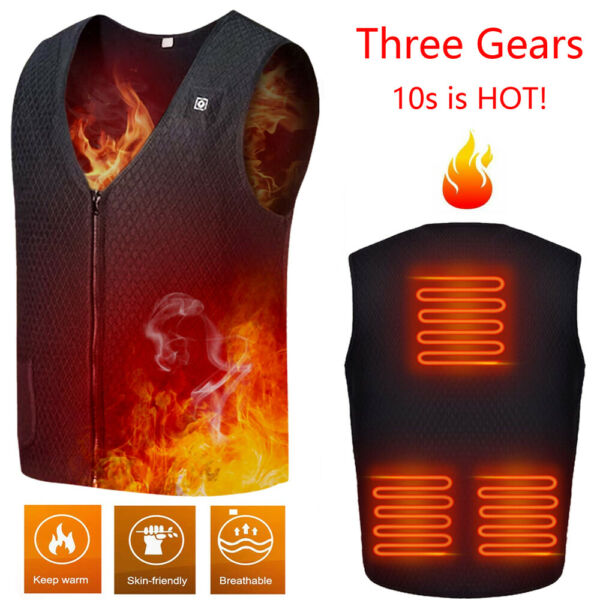 Heated Vest USB Charging Electric Jacket Washable for Women Men No Battery US