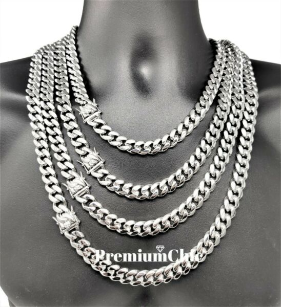 Mens Miami Cuban Link Chain SOLID Stainless Steel Necklace or Bracelet Jewelry $30.99