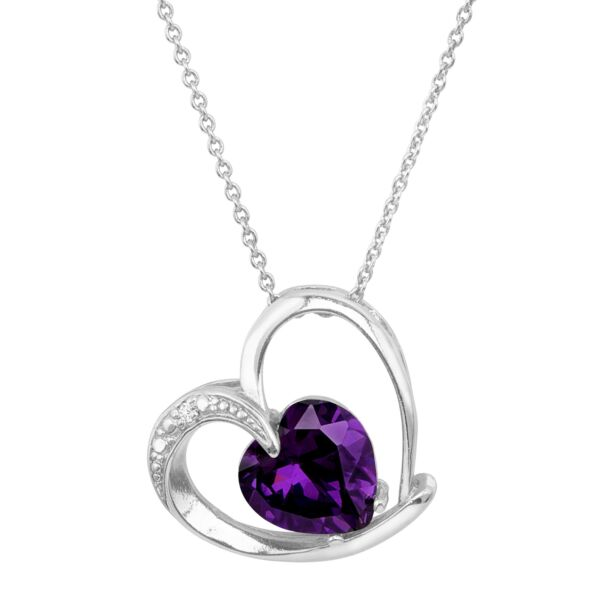 Heart Pendant with Purple Cubic Zirconia in Rhodium-Plated Brass 18