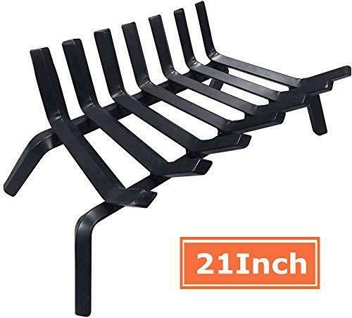Black Wrought Iron Fireplace Log Grate 21 inch Wide Heavy Duty Solid Steel