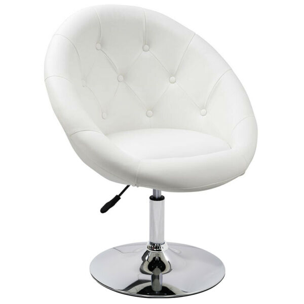 Duhome Jumbo Size White PU Leather Modern Round Swivel Vanity Accent Chair Tufte
