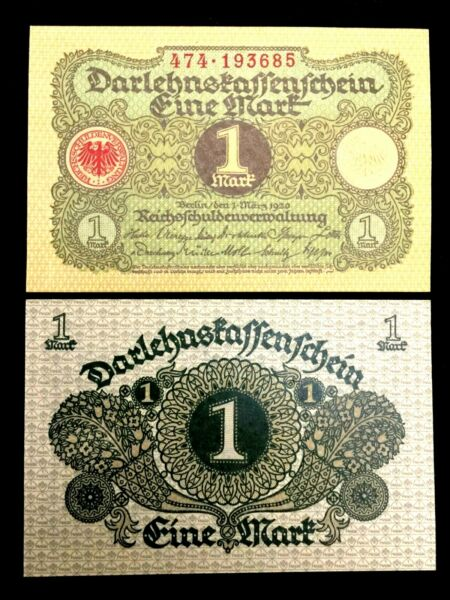 Vintage Authentic 1920 Germany 1 Mark Bank Note - 100 Years Old - UNC