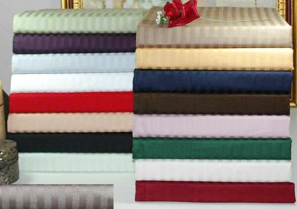 Fitted Sheet amp; Pillow Case 1000 TC Egyptian Cotton Stripe All Color amp; Size $48.52