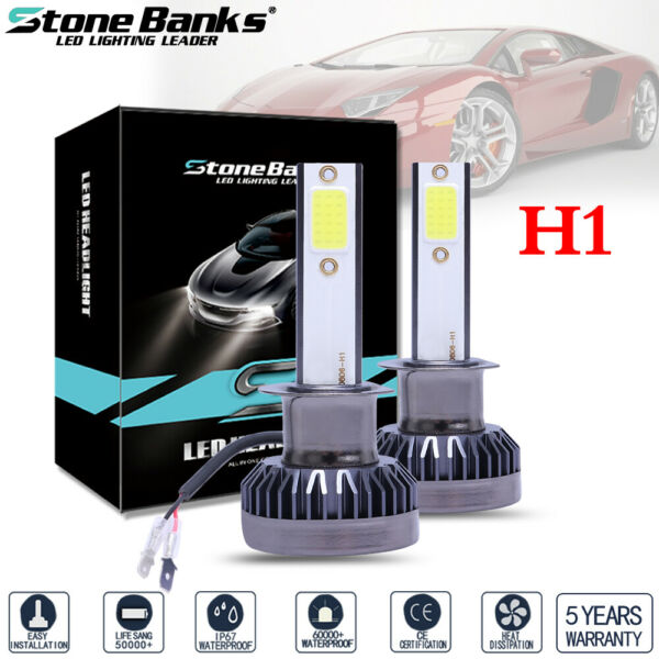 2x Mini H1 Ultra-light COB LED Headlight Bulbs 120W 26000LM High Low Beam Bright