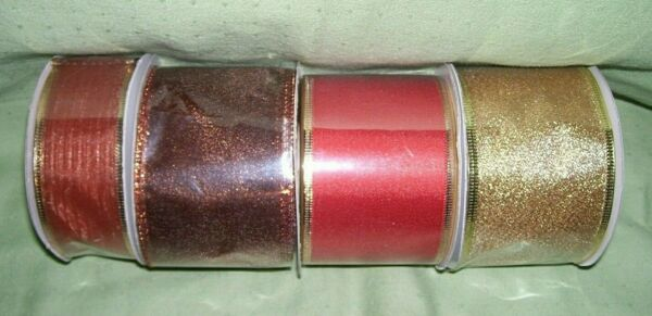 lot of 4 bolts fall colored ribbon wire edged 2 1 2quot;