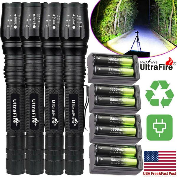 100000Lumens Tactical 5 ModesT6 Zoomable Focus 18650 LED Flashlight Torch Light