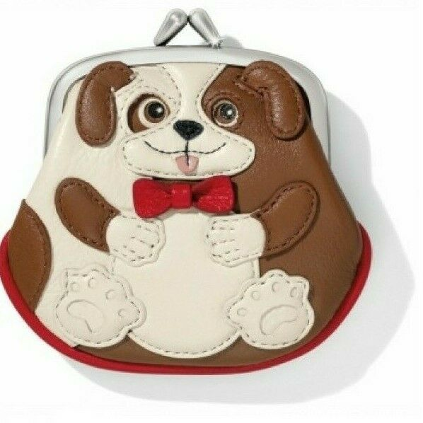 NWT Brighton Menagerie DUKE DOG Leather French Kiss Clasp Coin Purse MSRP $75 $27.00