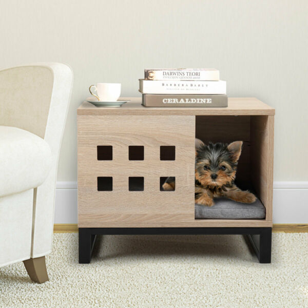 Wood Pet House Dog Crate End Table for Dogs Cat w Cushion and 6 Vents Indoor $52.99