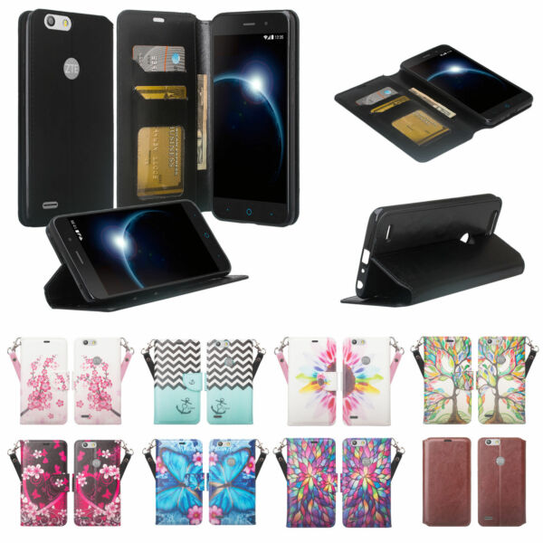 ZTE Sequoia Case Blade Z Max Faux Leather Wallet Case Cover with ID Card Slots