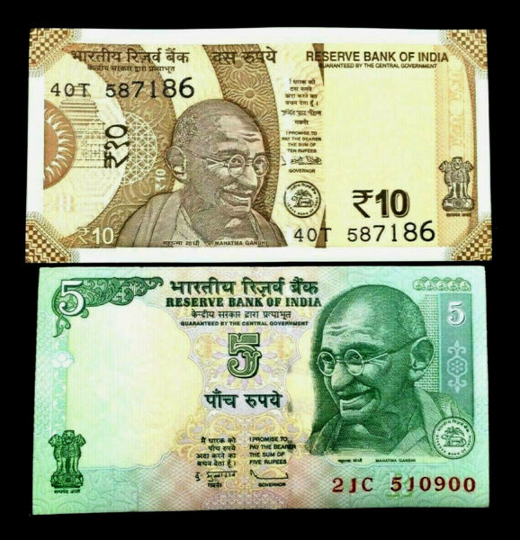 India 5 and 10 Rupees GANDHI Banknote World Paper Money UNC Currency Bills Note