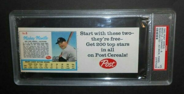 1962 POST CEREAL MICKEY MANTLE  ROGER MARIS UNCUT LIFE MAGAZINE AD CARD PSA 3