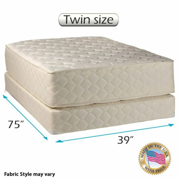 Highlight Luxury Firm Twin Mattress & Low Profile Box Set with Mattress Cover
