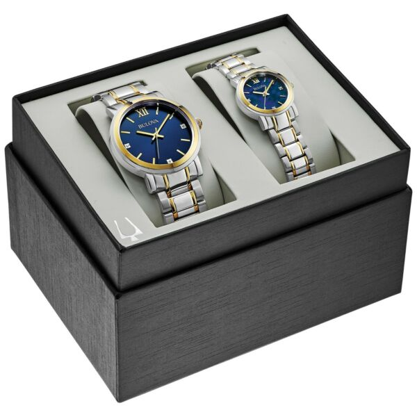 Bulova Quartz Gold Tone Case Two Tone Matching His and Hers Watch Set 98X117 $159.99