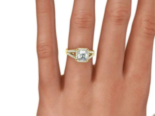 UNIQUE 3.25 CT D SI1 CUSHION HALO SPLIT 18 KARAT YELLOW GOLD RING SIDE STONES