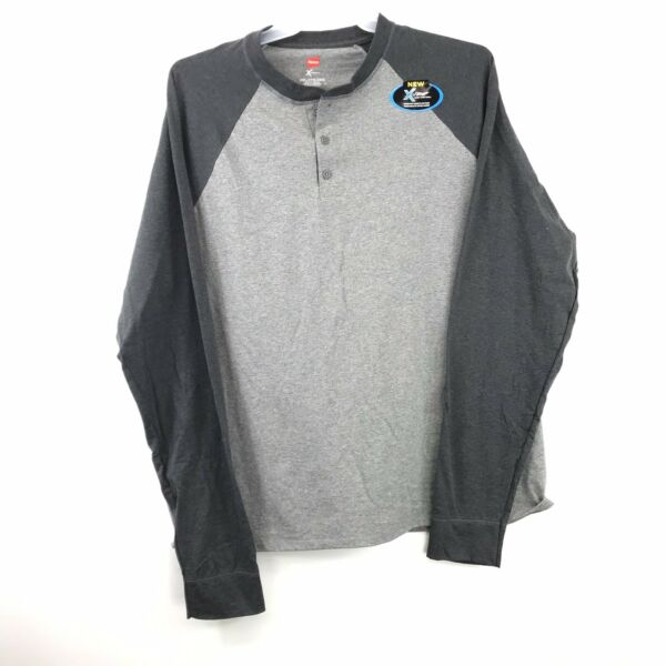 2PK Hanes X-Temp Mid Charcoal Heather Men's 2XL Long Sleeve Tee Shirt M13-1