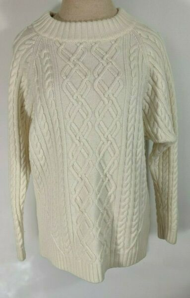 ST. JOHN 100% WOOL IVORY CABLE KNIT LONG SLEEVE SWEATER SIZE LARGE FREE SHIP