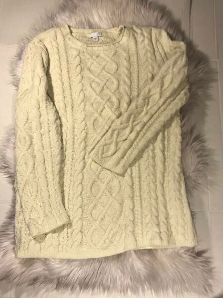 J.Jill Crewneck Cable Knit Tunic Sweater Ivory Super Soft  Size M