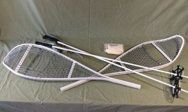 """New US Military Magline Aluminum Snow Shoes Tenner Industries 46"""" With 49"""" Poles"""