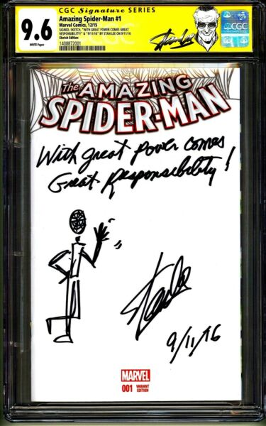 AMAZING SPIDER-MAN #1 CGC SS 9.6 STAN LEE SIGNED SKETCH DATE QUOTE COMMENT 11