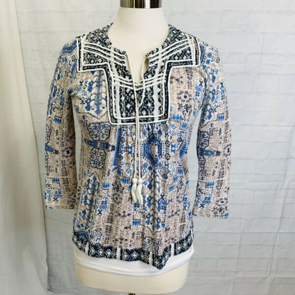 Lucky Brand Women's S Top Blue White Brown Boho Embroidery Tassel Tie 34 #X#2