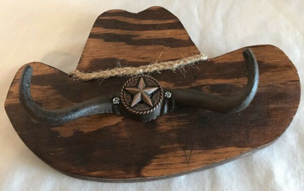 Wooden Cowboy Hat With Hooks Made From Reclaimed Barn Wood $18.00
