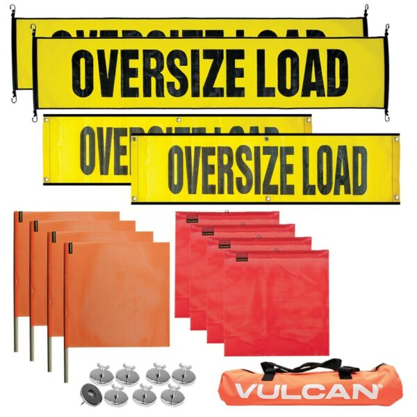 VULCAN Premium Oversize Load Flags Banners & Magnets Kit