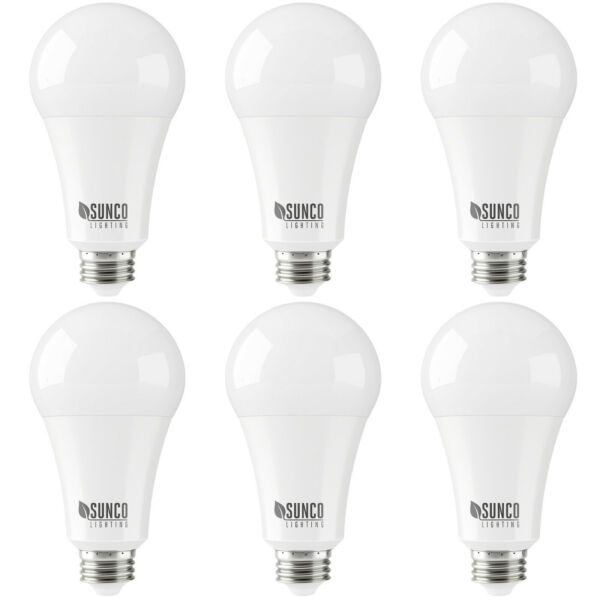 Sunco 6 PACK A21 LED Light Bulb Dimmable 22W (150W) 5000K Daylight 2550 lm
