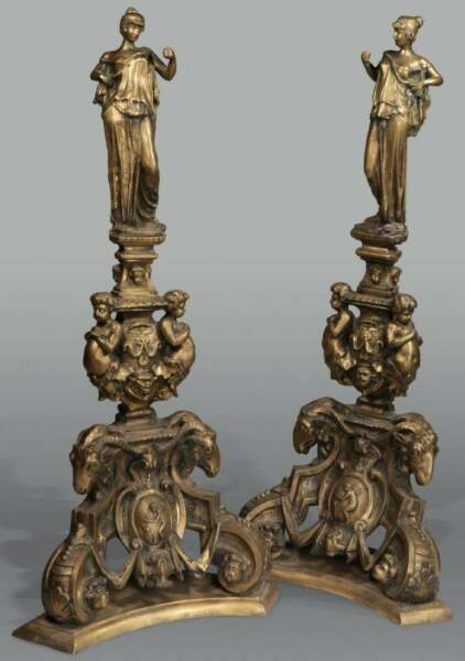 MONUMENTAL 4 FOOT TALL BRONZE CLASSICAL ANDIRONS SCROLLED 22
