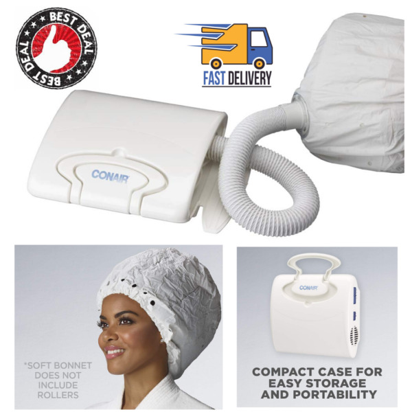 Soft Bonnet Hair Dryer Hooded Conair Styling Portable Hood Vent 4 Heat Speed $38.98