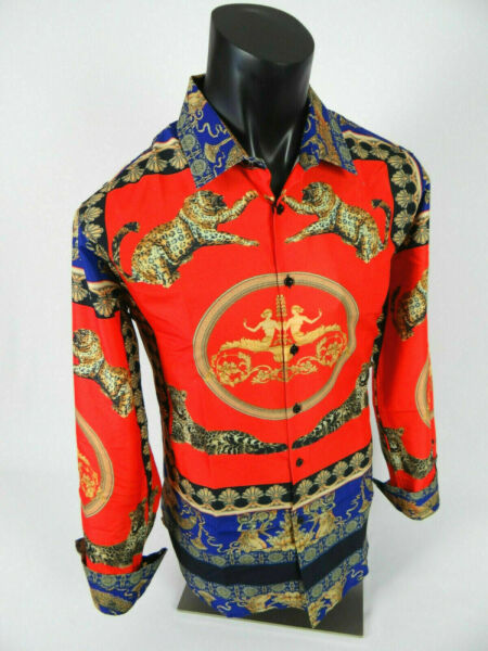 Mens Premier Shirt Black Red with Gold Floral Animal Print SLIM FIT Button Front