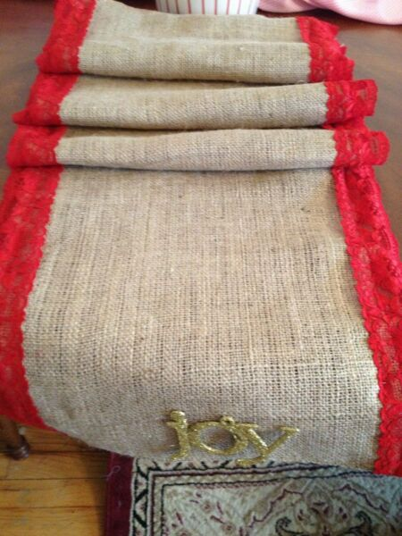 Christmas Red Lace and Burlap Table Runner Burlap Curtains Burlap Drapes
