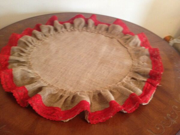 Holidays Burlap and Red Lace Table Topper Rustic Reception Decor Lace Burlap Rou
