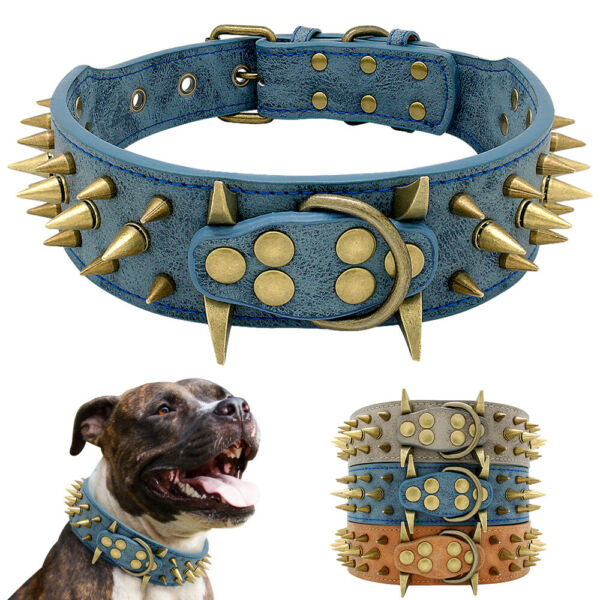 Genuine leather Spiked Dog Collar 5cm Width Heavy Duty Large Dog Collar M L $17.99
