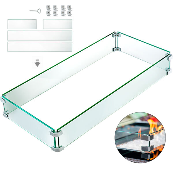 Outdoor Fire Pit Wind Guard Glass Flame Guard Fence 41.8quot; x 18quot; x 6quot; Rectangle