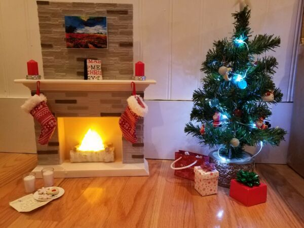 OUR GENERATION HOLIDAY CHRISTMAS SET TREE FIREPLACE & ACCESSORIES