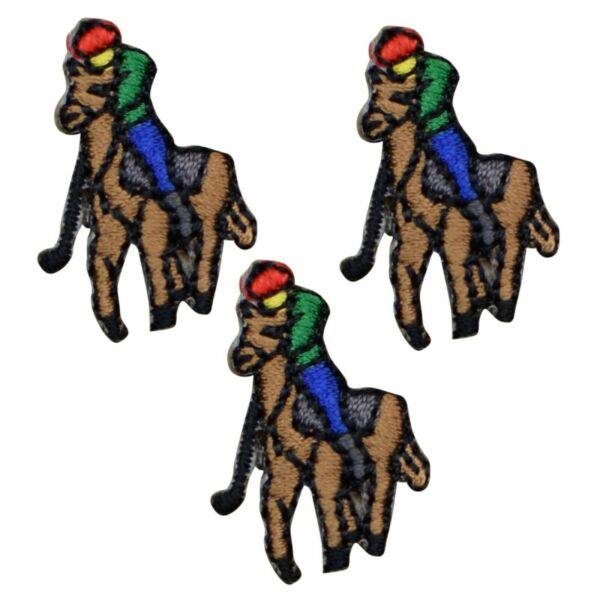 Vintage Horse Applique Patch Sport Polo Player Badge 1 1 8quot; 3 Pack Iron on