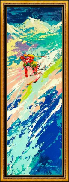 LeRoy Neiman Original Painting Oil on Board Signed Downhill Skier Authentic Art