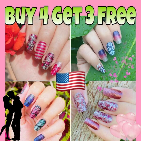 Color Nail Polish Strips BUY 4 GET 3 FREE Manicure Nail Stickers Nail Wraps