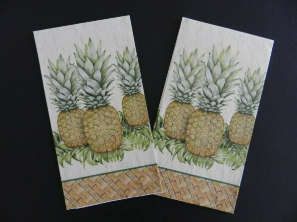 2 Two Individual Guest Towels Paper Napkins for Decoupage Craft Pineapples