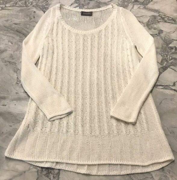 Wooden Ships Paola Buendia Anthropologie Ivory Cable Knit Sweater XS Fits S-M