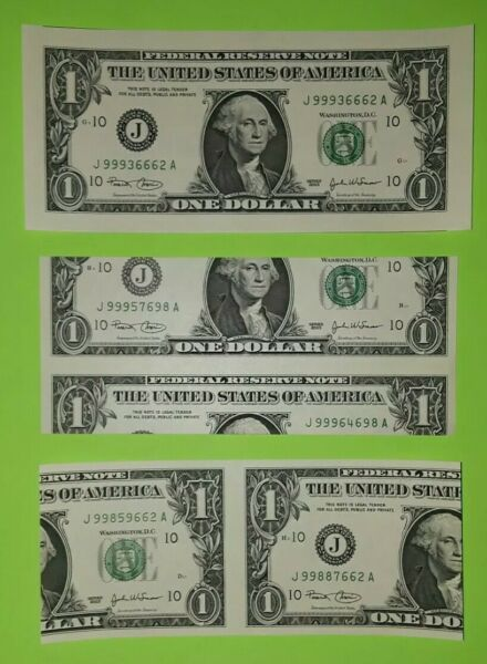 2003 $1 with untrimed large margins & misscut's (3 notes)