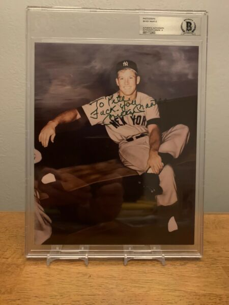 """MICKEY MANTLE HAND SIGNED YANKEES 8x10 PHOTO! BAS AUTO GRADE 9! """"F**k YOU"""""""