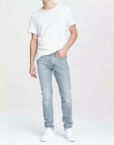 Rag Bone Sz 33 Fit 1 Extra Slim Fit Mens Jeans NWT Fire Island With Holes