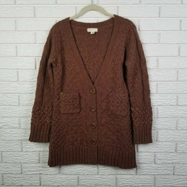 Anthropologie Sleeping On Snow Cable Knit Wool Cardigan Sweater M Brown