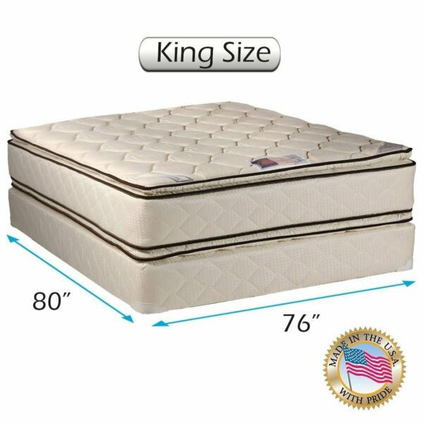 Dream Sleep Coil Comfort PillowTop King 2-Sided Mattress Set with Mattress Cover