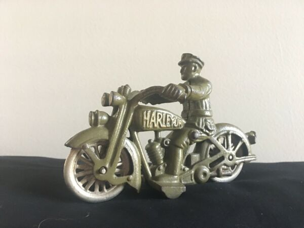 HUBLEY CAST IRON POLICE MOTORCYCLE HARLEY DAVIDSON GREEN GOLD NICKEL WHEELS TOY