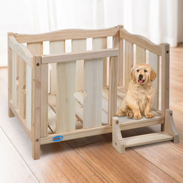 Elevated Dog Bed Cat Pet House Crate Raised W Ladder Sturdy Log Wood In outdoor $42.99