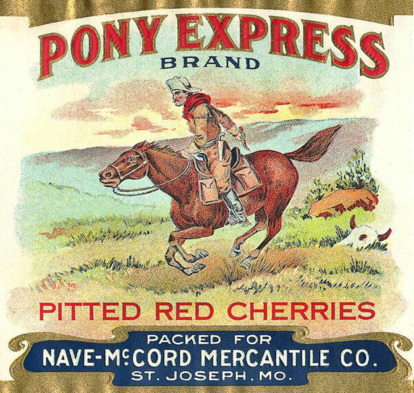 Pony Express Pitted Red Cherries Vintage Produce Crate Label Art Print