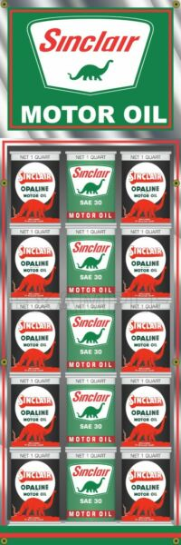 SINCLAIR OIL CAN RACK DISPLAY GAS STATION PRINTED BANNER SIGN MURAL 20